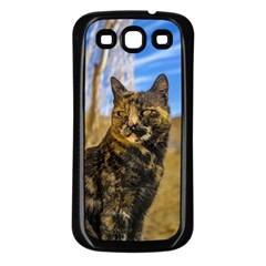 Adult Wild Cat Sitting and Watching Samsung Galaxy S3 Back Case (Black)