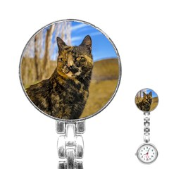 Adult Wild Cat Sitting and Watching Stainless Steel Nurses Watch