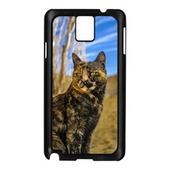 Adult Wild Cat Sitting and Watching Samsung Galaxy Note 3 N9005 Case (Black)