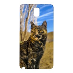 Adult Wild Cat Sitting and Watching Samsung Galaxy Note 3 N9005 Hardshell Back Case