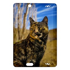 Adult Wild Cat Sitting and Watching Amazon Kindle Fire HD (2013) Hardshell Case