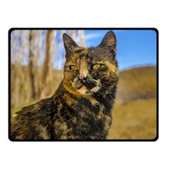 Adult Wild Cat Sitting and Watching Double Sided Fleece Blanket (Small)