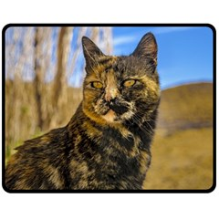 Adult Wild Cat Sitting and Watching Double Sided Fleece Blanket (Medium)