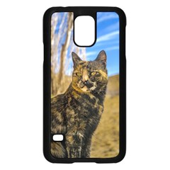 Adult Wild Cat Sitting and Watching Samsung Galaxy S5 Case (Black)