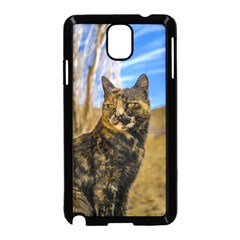 Adult Wild Cat Sitting and Watching Samsung Galaxy Note 3 Neo Hardshell Case (Black)