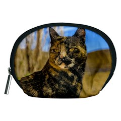 Adult Wild Cat Sitting and Watching Accessory Pouches (Medium)