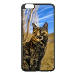 Adult Wild Cat Sitting and Watching Apple iPhone 6 Plus/6S Plus Black Enamel Case