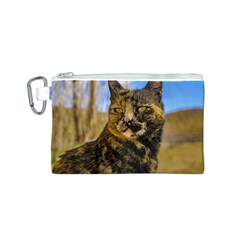 Adult Wild Cat Sitting and Watching Canvas Cosmetic Bag (S)