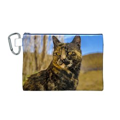 Adult Wild Cat Sitting and Watching Canvas Cosmetic Bag (M)