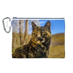 Adult Wild Cat Sitting and Watching Canvas Cosmetic Bag (L)