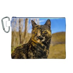 Adult Wild Cat Sitting and Watching Canvas Cosmetic Bag (XL)