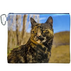 Adult Wild Cat Sitting and Watching Canvas Cosmetic Bag (XXXL)
