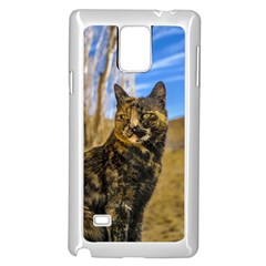 Adult Wild Cat Sitting and Watching Samsung Galaxy Note 4 Case (White)