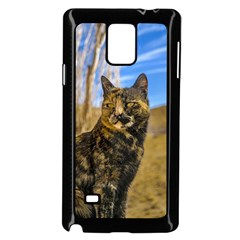 Adult Wild Cat Sitting and Watching Samsung Galaxy Note 4 Case (Black)