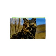 Adult Wild Cat Sitting and Watching Cosmetic Bag (XS)