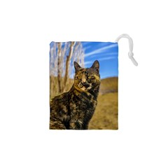 Adult Wild Cat Sitting and Watching Drawstring Pouches (XS)