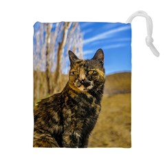 Adult Wild Cat Sitting and Watching Drawstring Pouches (Extra Large)