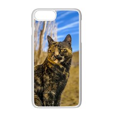 Adult Wild Cat Sitting and Watching Apple iPhone 7 Plus White Seamless Case