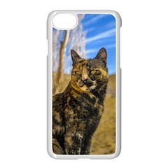 Adult Wild Cat Sitting and Watching Apple iPhone 7 Seamless Case (White)