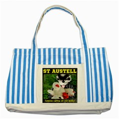 St Austell, Furring Capital of the World Striped Blue Tote Bag