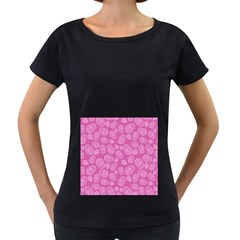 Floral pattern Women s Loose-Fit T-Shirt (Black)