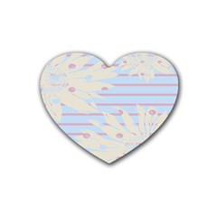 Flower Floral Sunflower Line Horizontal Pink White Blue Heart Coaster (4 pack)