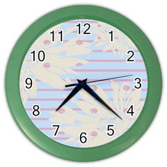 Flower Floral Sunflower Line Horizontal Pink White Blue Color Wall Clocks