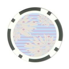 Flower Floral Sunflower Line Horizontal Pink White Blue Poker Chip Card Guard