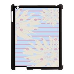 Flower Floral Sunflower Line Horizontal Pink White Blue Apple iPad 3/4 Case (Black)