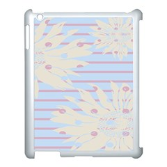 Flower Floral Sunflower Line Horizontal Pink White Blue Apple iPad 3/4 Case (White)