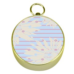 Flower Floral Sunflower Line Horizontal Pink White Blue Gold Compasses