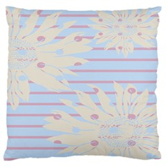 Flower Floral Sunflower Line Horizontal Pink White Blue Large Flano Cushion Case (Two Sides)