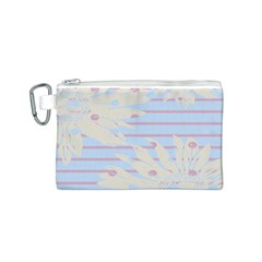 Flower Floral Sunflower Line Horizontal Pink White Blue Canvas Cosmetic Bag (S)