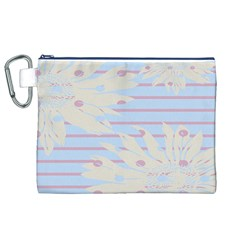 Flower Floral Sunflower Line Horizontal Pink White Blue Canvas Cosmetic Bag (XL)