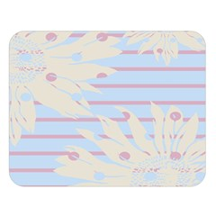 Flower Floral Sunflower Line Horizontal Pink White Blue Double Sided Flano Blanket (Large)