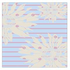 Flower Floral Sunflower Line Horizontal Pink White Blue Large Satin Scarf (Square)