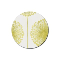 Flower Floral Yellow Rubber Round Coaster (4 pack)