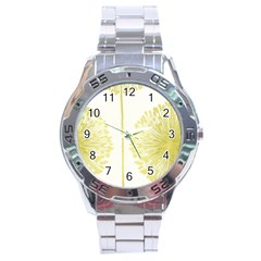 Flower Floral Yellow Stainless Steel Analogue Watch