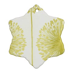 Flower Floral Yellow Snowflake Ornament (Two Sides)