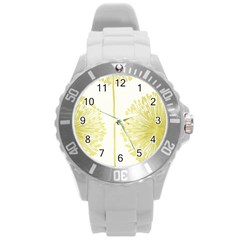 Flower Floral Yellow Round Plastic Sport Watch (L)