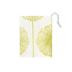 Flower Floral Yellow Drawstring Pouches (Small)