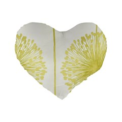 Flower Floral Yellow Standard 16  Premium Flano Heart Shape Cushions