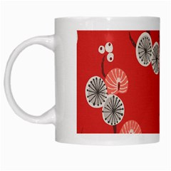 Dandelions Red Butterfly Flower Floral White Mugs