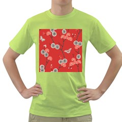 Dandelions Red Butterfly Flower Floral Green T-Shirt