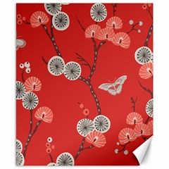 Dandelions Red Butterfly Flower Floral Canvas 8  x 10