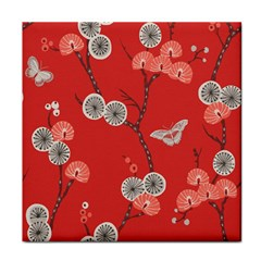 Dandelions Red Butterfly Flower Floral Face Towel