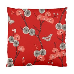 Dandelions Red Butterfly Flower Floral Standard Cushion Case (Two Sides)