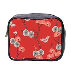 Dandelions Red Butterfly Flower Floral Mini Toiletries Bag 2-Side