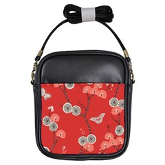 Dandelions Red Butterfly Flower Floral Girls Sling Bags