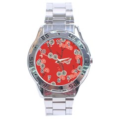 Dandelions Red Butterfly Flower Floral Stainless Steel Analogue Watch